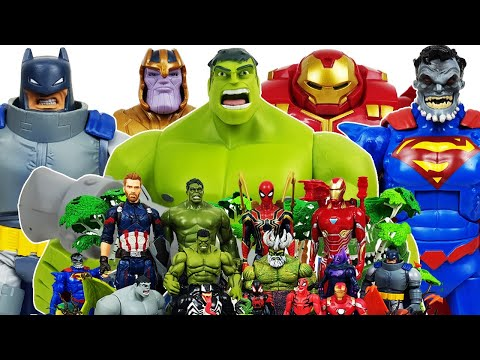 Hulkbuster, Hulk vs Thanos! Avengers Go~! Spider-Man, Iron Man, Captain America, Superman, Batman,