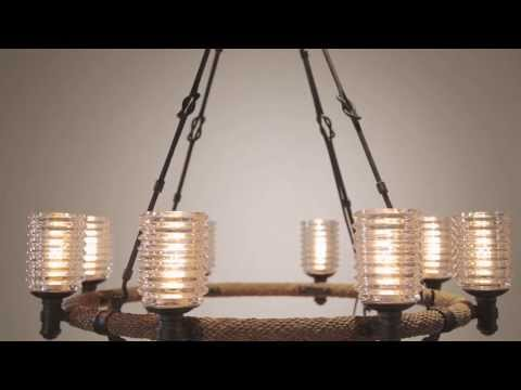 Video for Embarcadero Shipyard Bronze and Antique Manila Rope Eight Light Chandelier