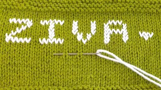 How to write Alphabet , Letters , Name on knitting | Duplicate Stitch
