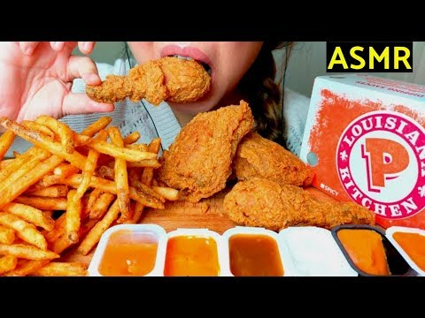 *CRUNCHY* ASMR POPEYES Fried Chicken & Cajun Fries 먹방 *No Talking* Eating Sounds
