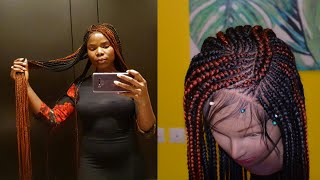 HOW-TO 6X6 BRAIDED LACE CLOSURE | BOX BRAIDS WITH FEED-IN BRAIDS | SUPER LONG XMAS BRAIDS