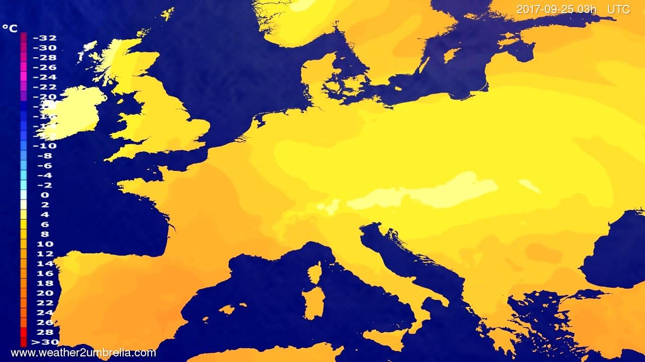 Temperature forecast Europe 2017-09-22