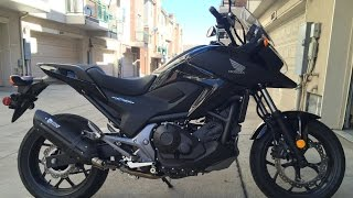 Awesome Sound! 2014 Honda NC700X With Mivv Suono Black Steel Carbon Slip On Exhaust Can