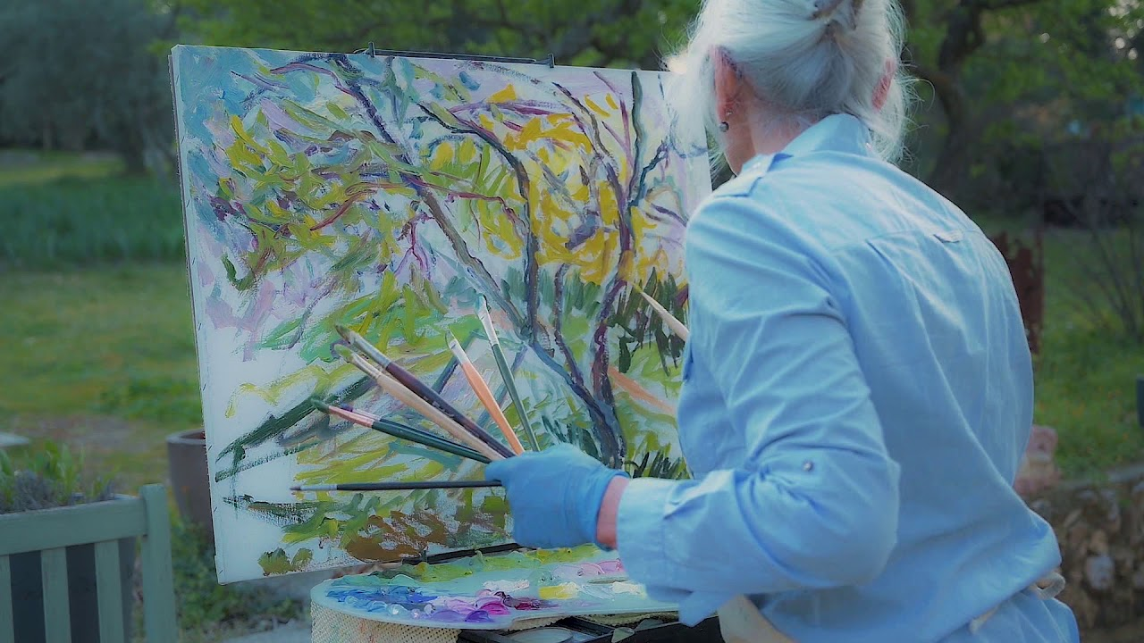 Painting the Almond Tree at Sunset