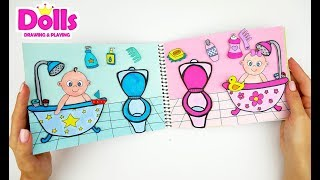 QUIET BOOK FOR PAPER DOLLS BABY CARE BATHROOM PAPERCRAFT
