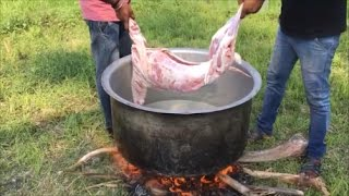 Cooking a 7 KG Goat in My Village - Cooking Mutton Kulambu Using a Traditional Meat Tenderizer