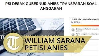 William Sarana Petisi Anies unggah Rancangan Anggaran DKI Jakarta 2020