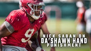 Nick Saban explains why Da'Shawn Hand won't be suspended after DUI arrest