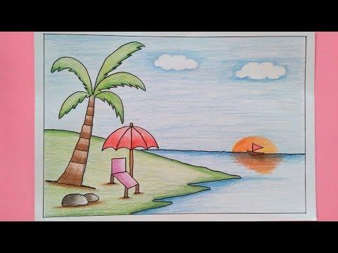 4600 Koleksi contoh gambar pemandangan pantai menggunakan pensil warna HD Terbaik