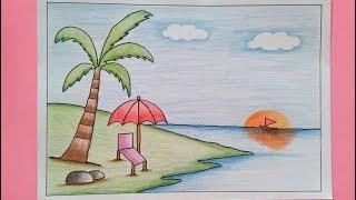 Cara Menggambar Pantai ฟรวดโอออนไลน ดทวออนไลน คลป
