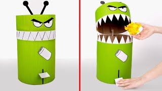 Trash-Eating Monster | Cardboard DIY