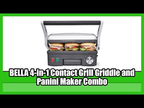 , BELLA 4-in-1 Contact Grill Griddle and Panini Maker Combo, Stainless Steel and Black 14464