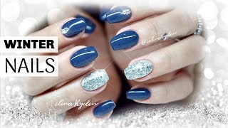 TUTORIAL |WINTER NAILS GEL OVERLAY - BLUE AND SILVER GLITTER | SHORT COFFIN / BALLERINA