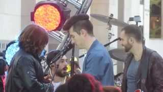 Bastille 's Dan Smith & band hanging out before concert on Today Show: Flaws, Pompeii & Of the Night