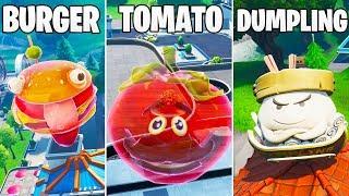 Fortnite: Dance inside a holographic tomato, burger head & on giant dumpling - Season 9 Week 4
