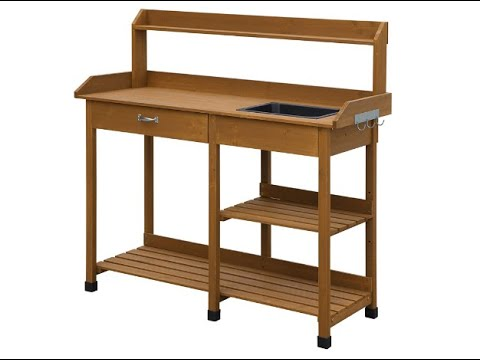 Convenience Concepts Deluxe Potting Bench, Light Oak - Overview
