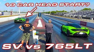 Randy wanted 10 cars?  * Aventador SV vs McLaren 765LT Drag Race by DragTimes