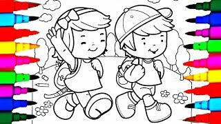 Learn Colors By Drawing Pages Little School Boy And Girl Coloring L Kids Books