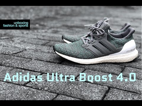 low cost c1243 b4cce Adidas ultra boost 4 0 grey four hi-res green unboxing on feet fashion shoes  2018 4k