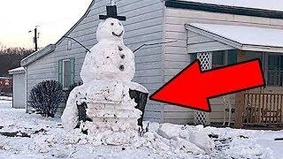 Вандал попытался на машине снести БОЛЬШОГО СНЕГОВИКА!  Но снеговик ответил!