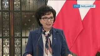 Konferencja prasowa marszałek Sejmu Elżbiety Witek po spotkaniu z prezesem NIK