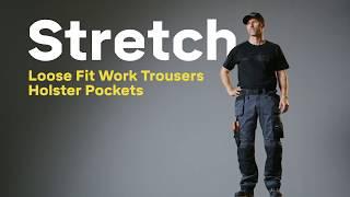 Snickers 6251 AllroundWork Stretch Loose Fit-Arbeitshose mit Holstertaschen, blau