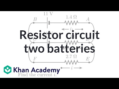 Analyzing a resistor circuit with two batteries (video) Khan Academy