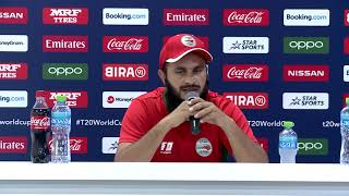 Zeeshan Maqsood Oman speaks after their 7 wicket win in ICC Men's T20 World Cup Qualifier