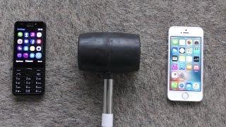 Nokia 230 vs iPhone SE  - Hammer Drop Test (4K)