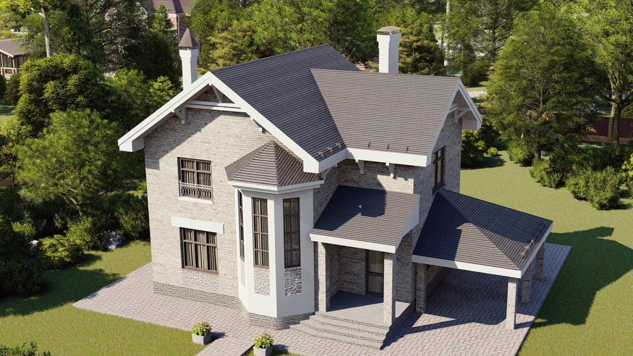 Двухэтажный проект дома с большой гостиной-столовой