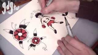 Old School Tattoo Flash Painting Tutorial - Kid Slug & Traditional Flowers With Copic Markers