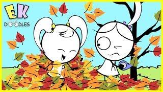 """Emma & Kate Learn Seasons """"Fall Leaves""""- EK Doodles Educational Animation"""