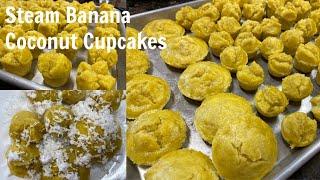 How To Make Steam Banana Coconut Cupcakes Recipe || Cambodian Dessert || Khmer Dessert||