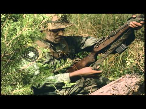 Soldiers apply dye and mud on uniform and weapons for camouflage in the United St...HD Stock Footage