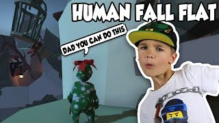 DAD AND SON DOING CRAZY PARKOUR! | HUMAN FALL FLAT MULTIPLAYER NEW MAP!