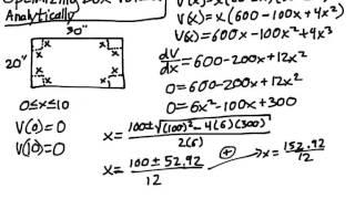 Optimization Problem 1 -  Box Volume