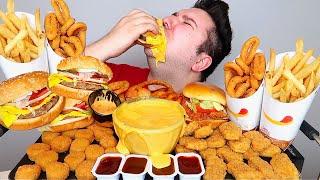 Cheesy Cheeseburger, Cheesy Nuggets, Cheesy Spicy Chicken Sandwich • MUKBANG