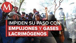 Guardia Nacional frena avance de caravana migrante en Chiapas