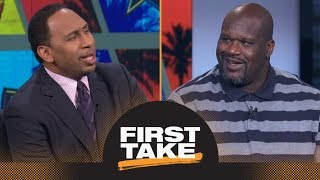 Shaq riles Stephen A. up by saying LeBron James should join Warriors | First Take | ESPN - Video Youtube