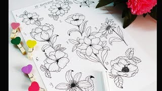 Learn How To Make Different Flower Shapes / Doodling / Journaling Ideas For Beginners