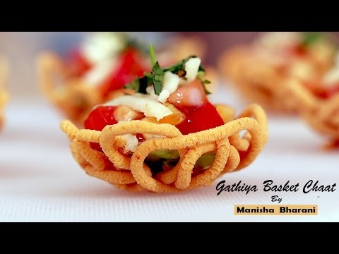 Gathiya Basket Chaat Crispy Party Starter  – Appetizer Idea  – Diwali Special Easy Recipe