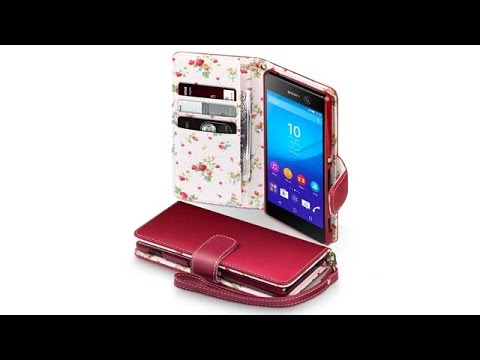 Sony Xperia M5 Hülle Leder - Rot mit Blumen Interior