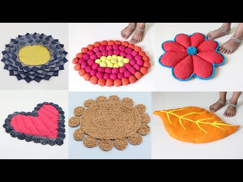 6 Easy & Quick Doormat/Floor mat Making from Waste Clothes | Room Decor | Sonali Creations