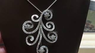18k White Gold Diamond Brooch / Pendant