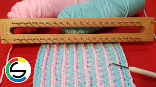 Knitting Board For Beginner Pattern 012 (Two Colors) : Loom Knitting For Scarf, Afghan (CHIC Studio)
