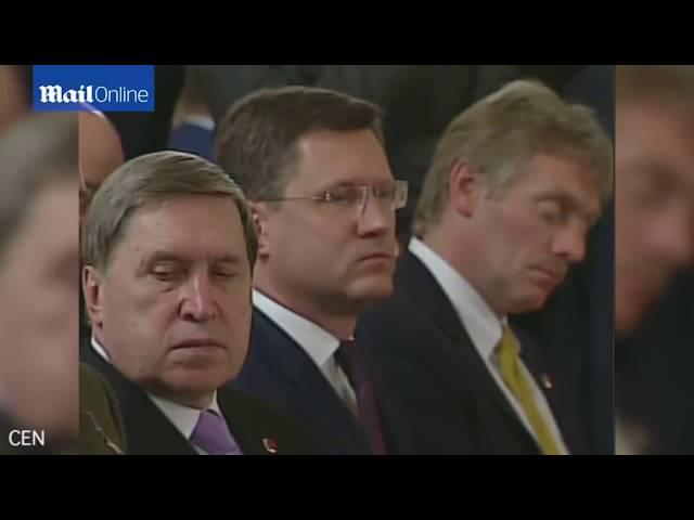 المتحدث باسم بوتين ينام خلال مؤتمر صحفي مع أردوغان