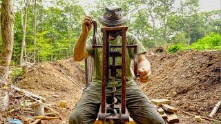 Budowa piwnicy z korzeniami spalonego drewna za pomocą narzędzi ręcznych, odc