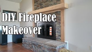 DIY Stone Fireplace Makeover  - OurHouse DIY
