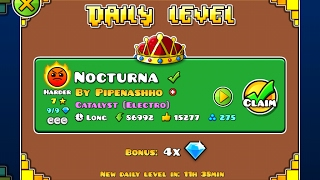 Geometry Dash [2.1] | Daily Level 04/02/17 | Nocturna by Pipenashho (3 coins)