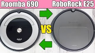 Roomba 690 vs RoboRock E25 - Robot Vacuum Cleaner Competition